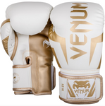 VENUM ELITE BOXING GLOVES WHITE/GOLD BACK