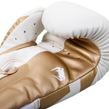 VENUM ELITE BOXING GLOVES WHITE/GOLD INSIDE