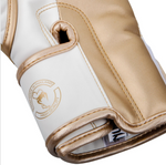 VENUM ELITE BOXING GLOVES WHITE/GOLD INSIDE STRAP