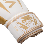 VENUM ELITE BOXING GLOVES WHITE/GOLD STRAP