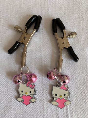 Hello Kitty (inspired) adjustable nipple clamps with bells