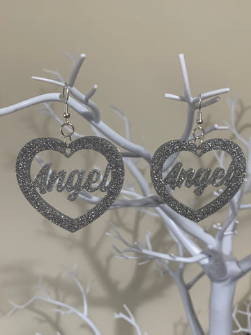 Angel (word) earrings
