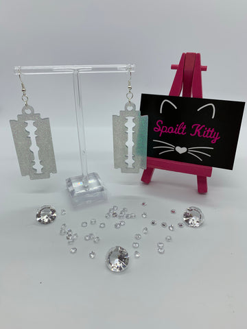 Sparkly razor blade (faux) earrings