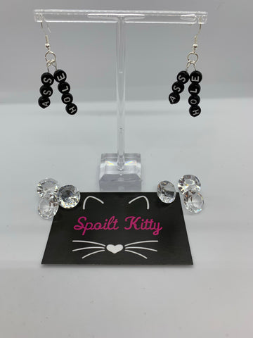 "Naughty Alphabet - ""Ass Hole"" earrings"