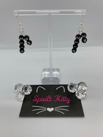 "Naughty Alphabet - ""Bite Me"" earrings"