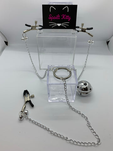 Adjustable nipple and clit clamps with bells