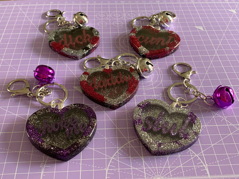 Profanity hearts keyrings
