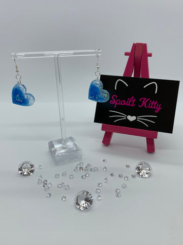 Blue sparkly heart earrings