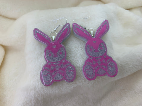 Bondage bunny dangly earrings