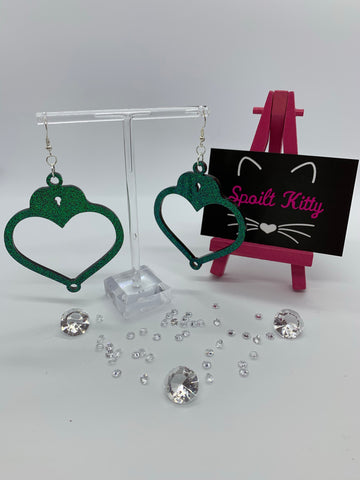 Sparkly heart handcuff earrings