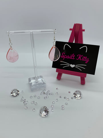 Pink sparkly teardrop earrings