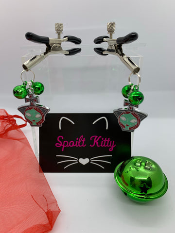 Sally adjustable nipple clamps with bells (inspired by Nightmare before Christmas)