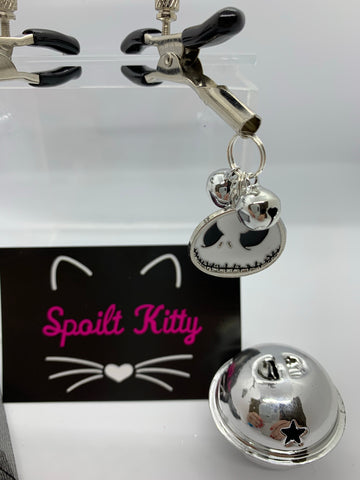 Jack Skellington (inspired) adjustable nipple clamps with bells