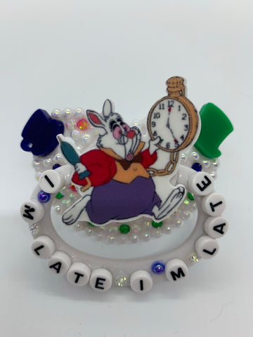 White Rabbit (inspired) adult decorated pacifier/binky
