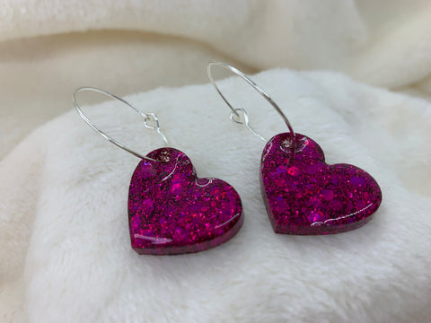 Dangly heart hoop earrings