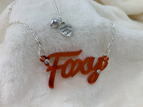 Foxy slogan necklace