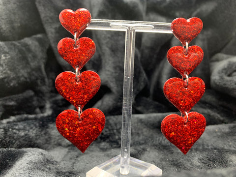 Tower of hearts earrings (studs/dangly)