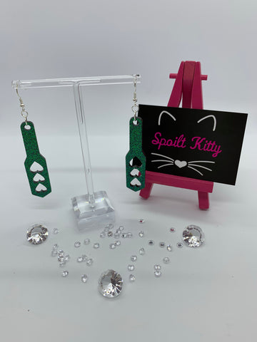 Sparkly heart spanking paddle earrings