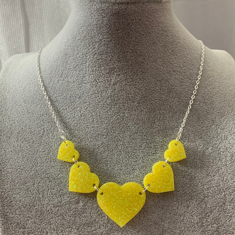 Statement multiple heart necklace