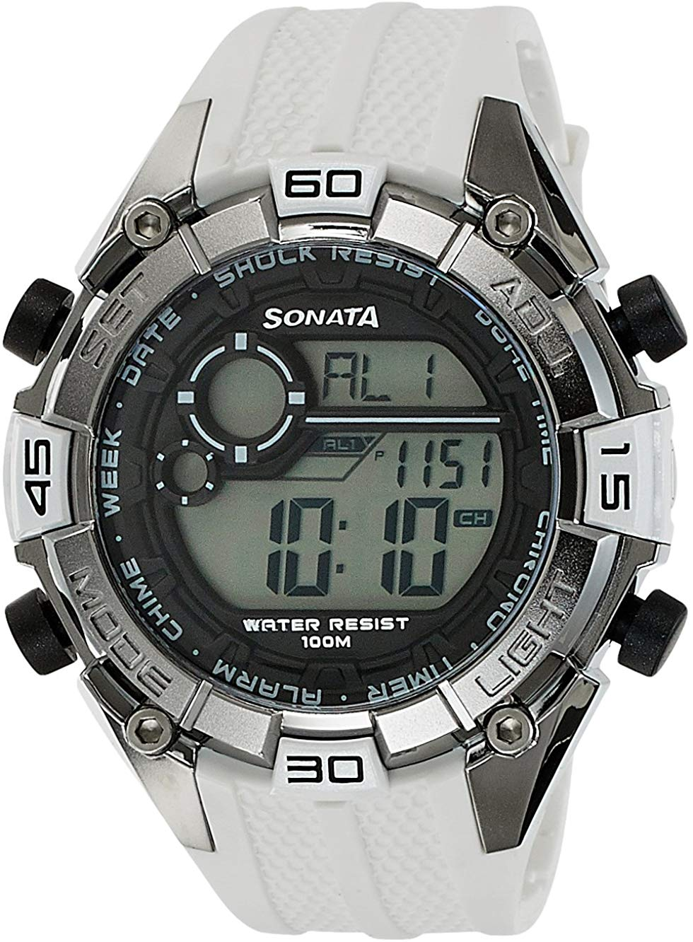 Sonata Ocean Series III Digital Grey Dial Unisex Watch - 77026PP02J