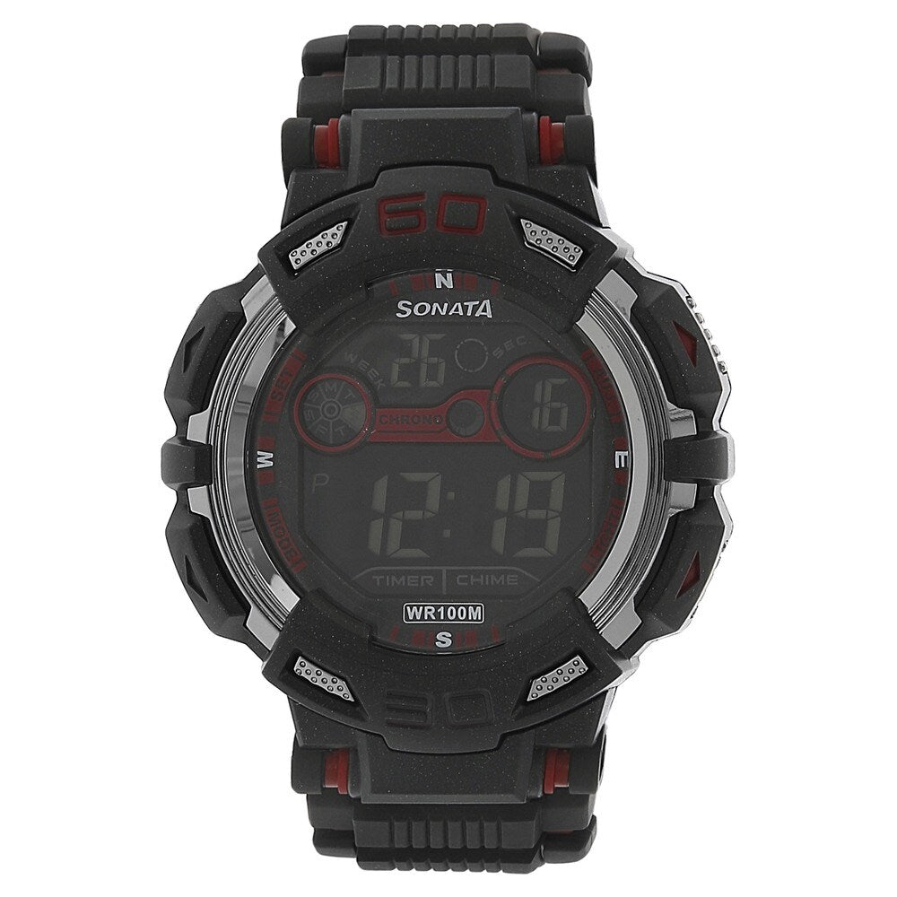 Sonata NH77009PP01J Fibre Digital Watch - For Men