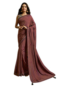 Sansakar Esha-3 Embroidary Work Sarees (Wine) By Indians Boutique