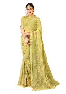 Yukti Sandhya Embroidered Chiffon Saree With Blouse Piece   (Yellow) By Indians Boutique