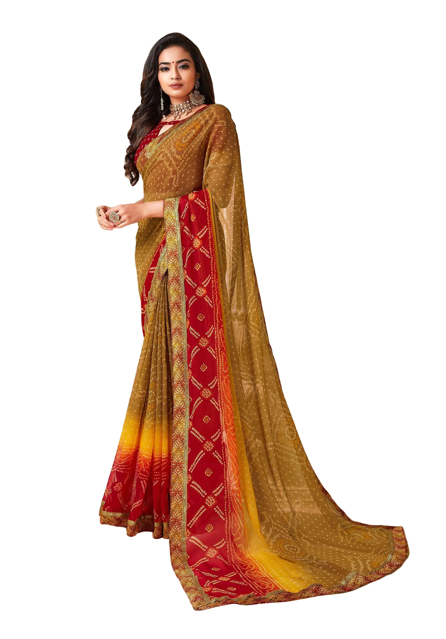 Sanskar Resham Ki Dor BandhaniPrinted Georgette Saree (Multicolor) By Indians Boutique