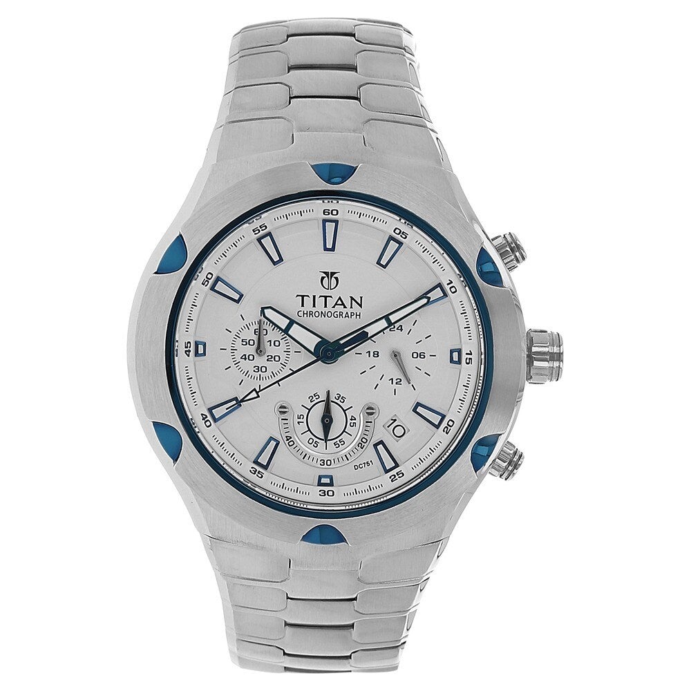 Titan Octane Chronograph White Dial Men's Watch - NF9468KM01M