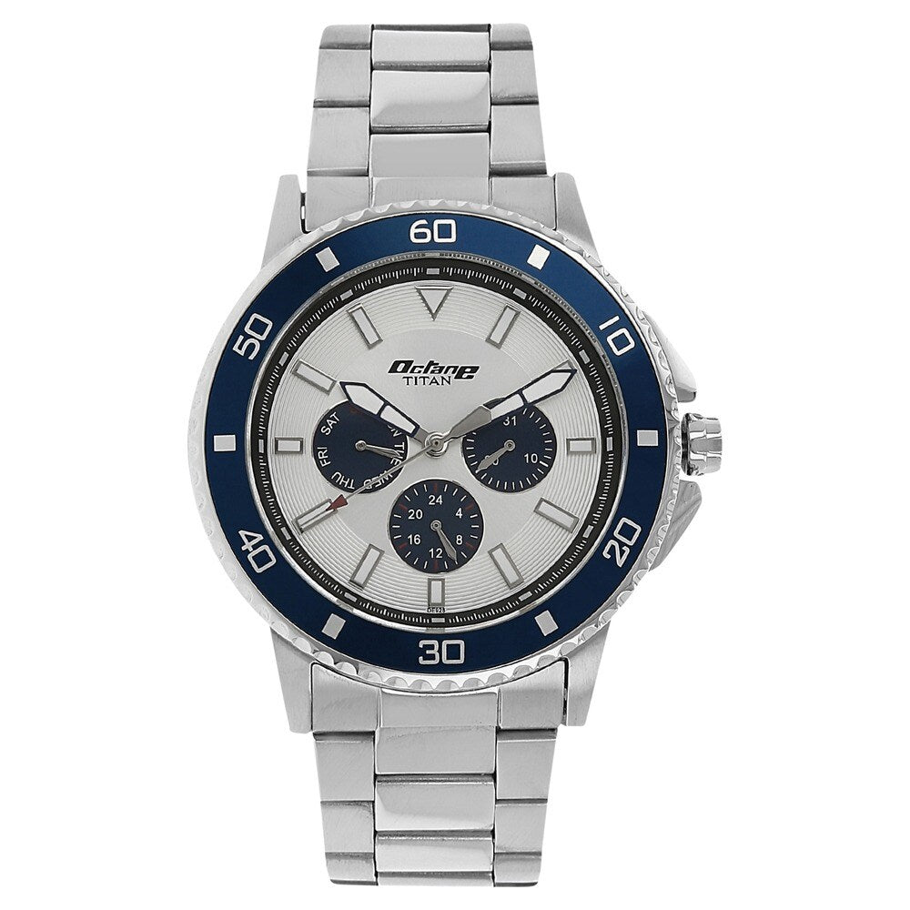 Titan Octane Analog White Dial Men's Watch - NK90040KM03