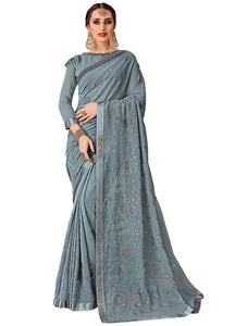 Yukti Sandhya Embroidered Chiffon Saree With Blouse Piece  (Grey) By Indians Boutique
