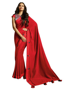 Sansakar Esha-3 Embroidary Work Sarees (Red) By Indians Boutique