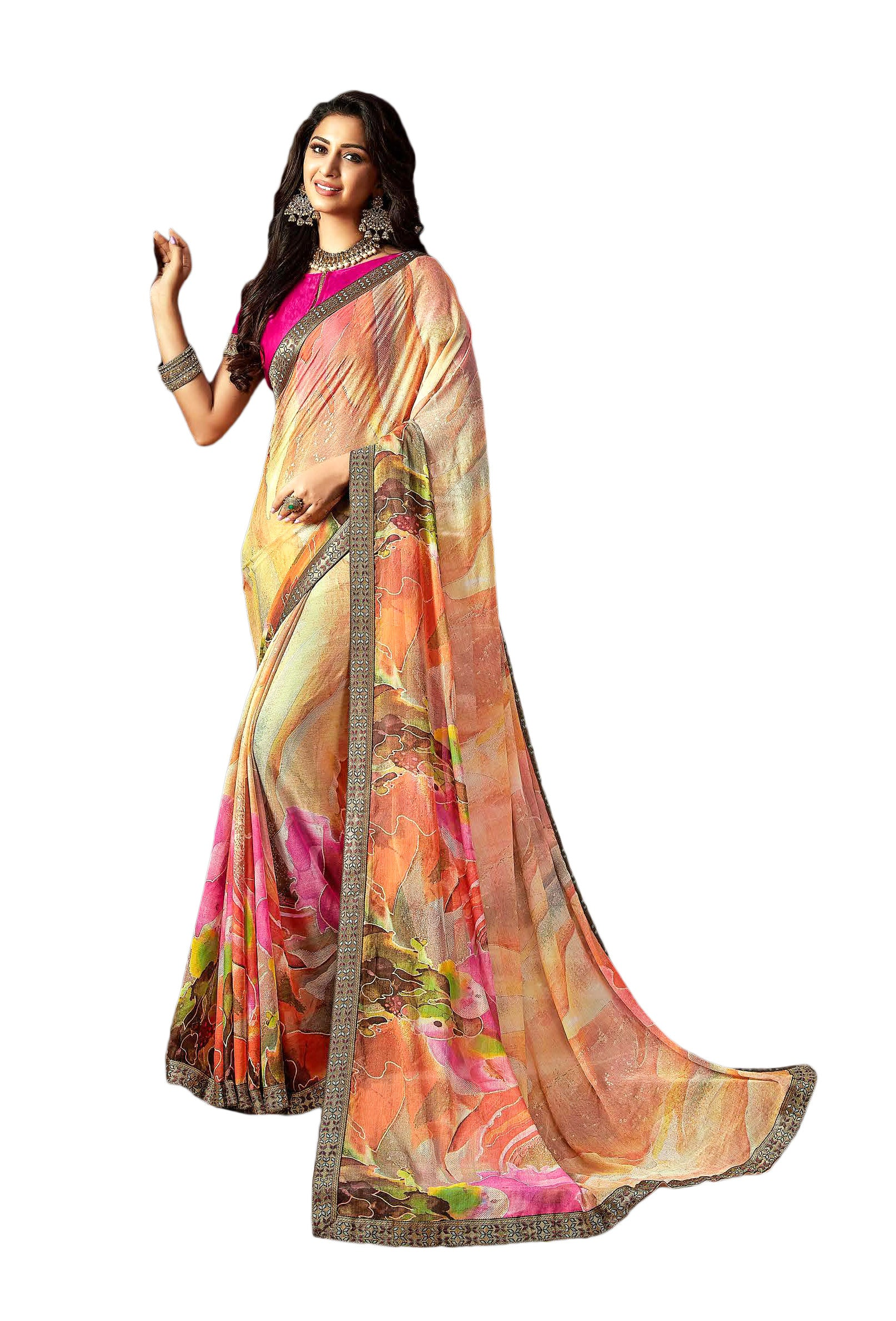 Sansakar Manorama  Printed Chiffon Saree (Multicolor) By Indians Boutique