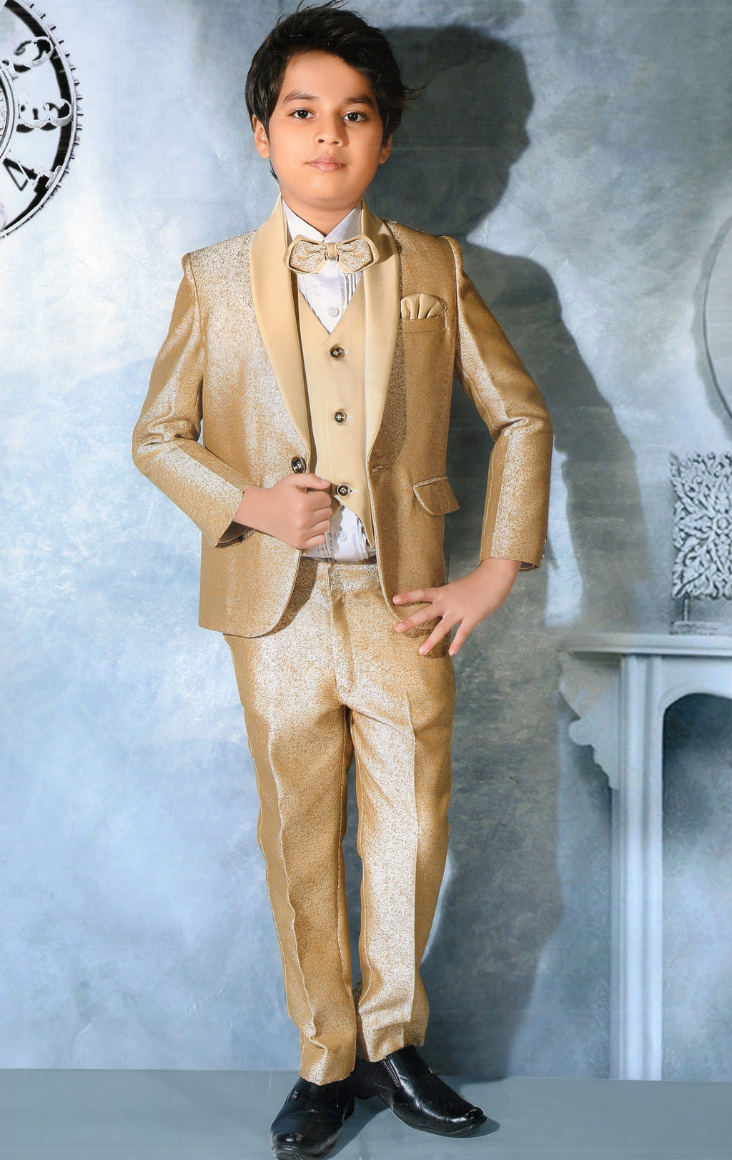 Jaideep Traditional Tuxedo Suit For Boys (Golden) By Indians Boutique