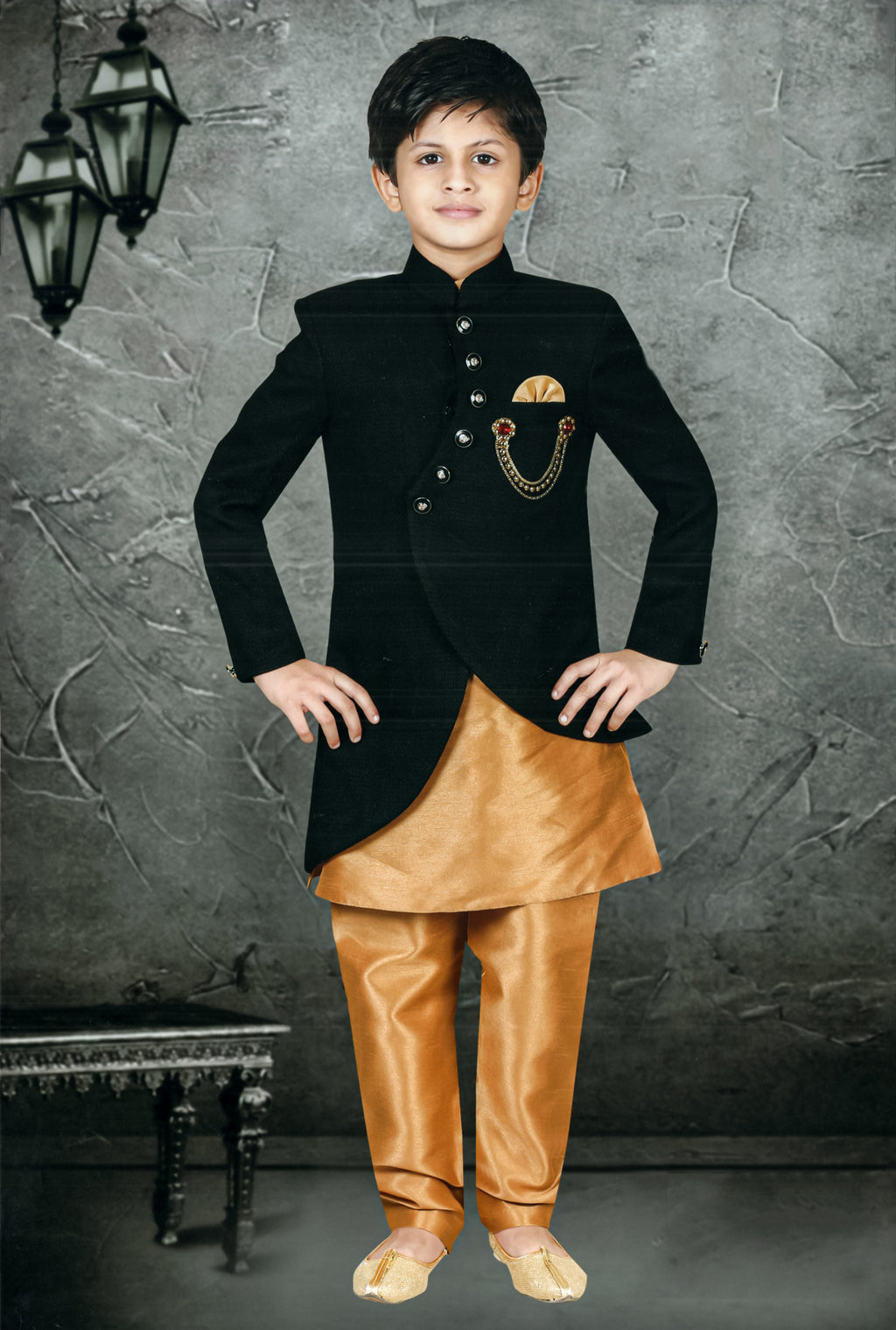 Jisaan Traditional Indo-Western For Boys (Black,Golden) By Indians Boutique