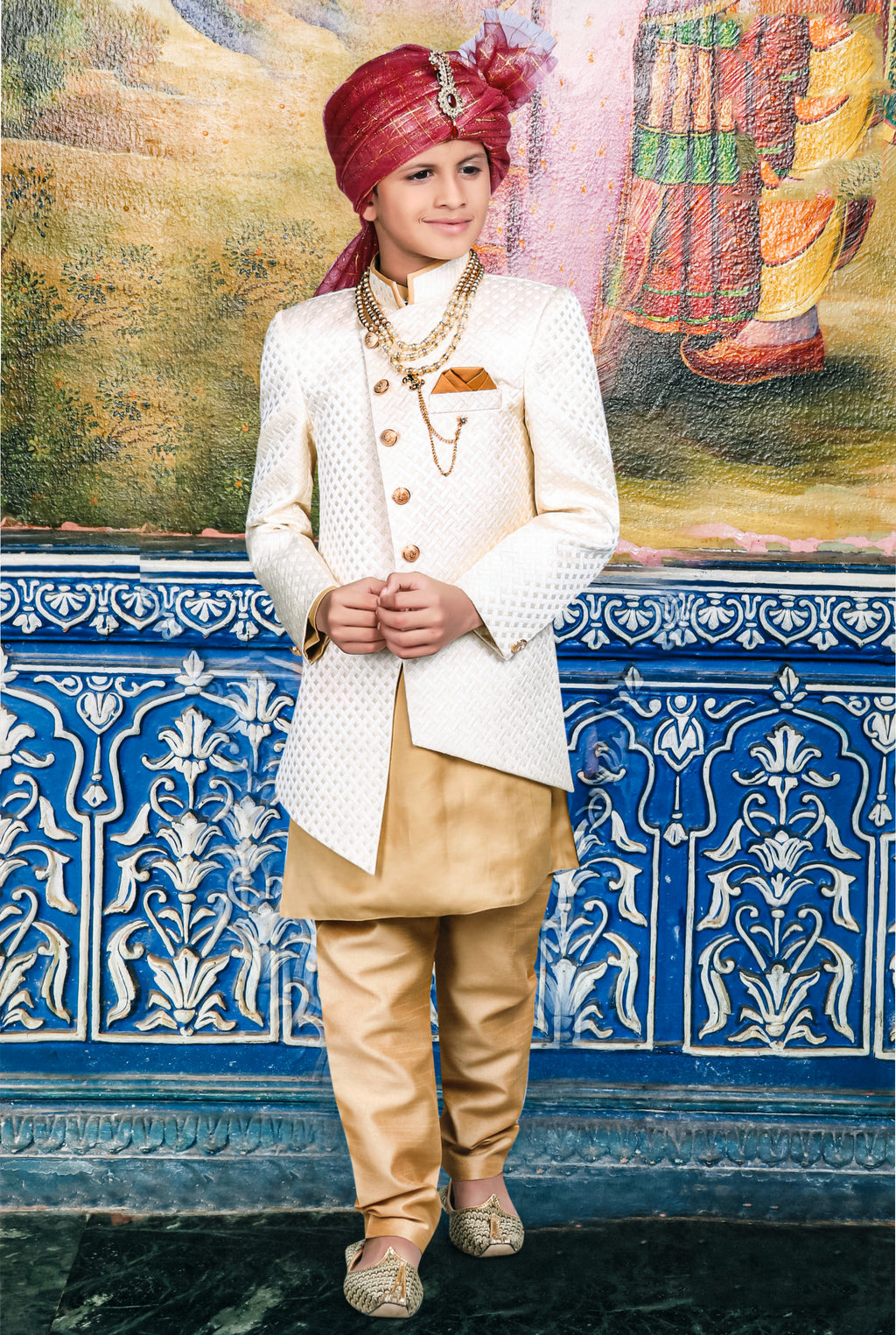 Jisaan Traditional Indo-Western For Boys (White,Golden) By Indians Boutique