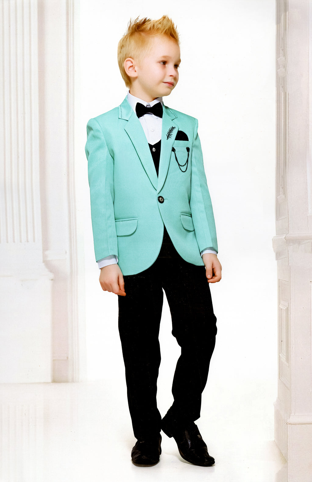 JK 4 Piece Coat-Suit For Boys (Sky Blue) By Indians Boutique