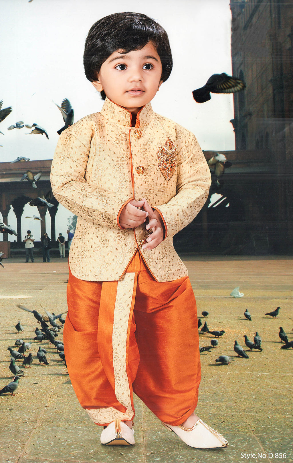 Jaideep Traditional Indo-Dhoti Set For Boys (Golden,Orange) By Indians Boutique