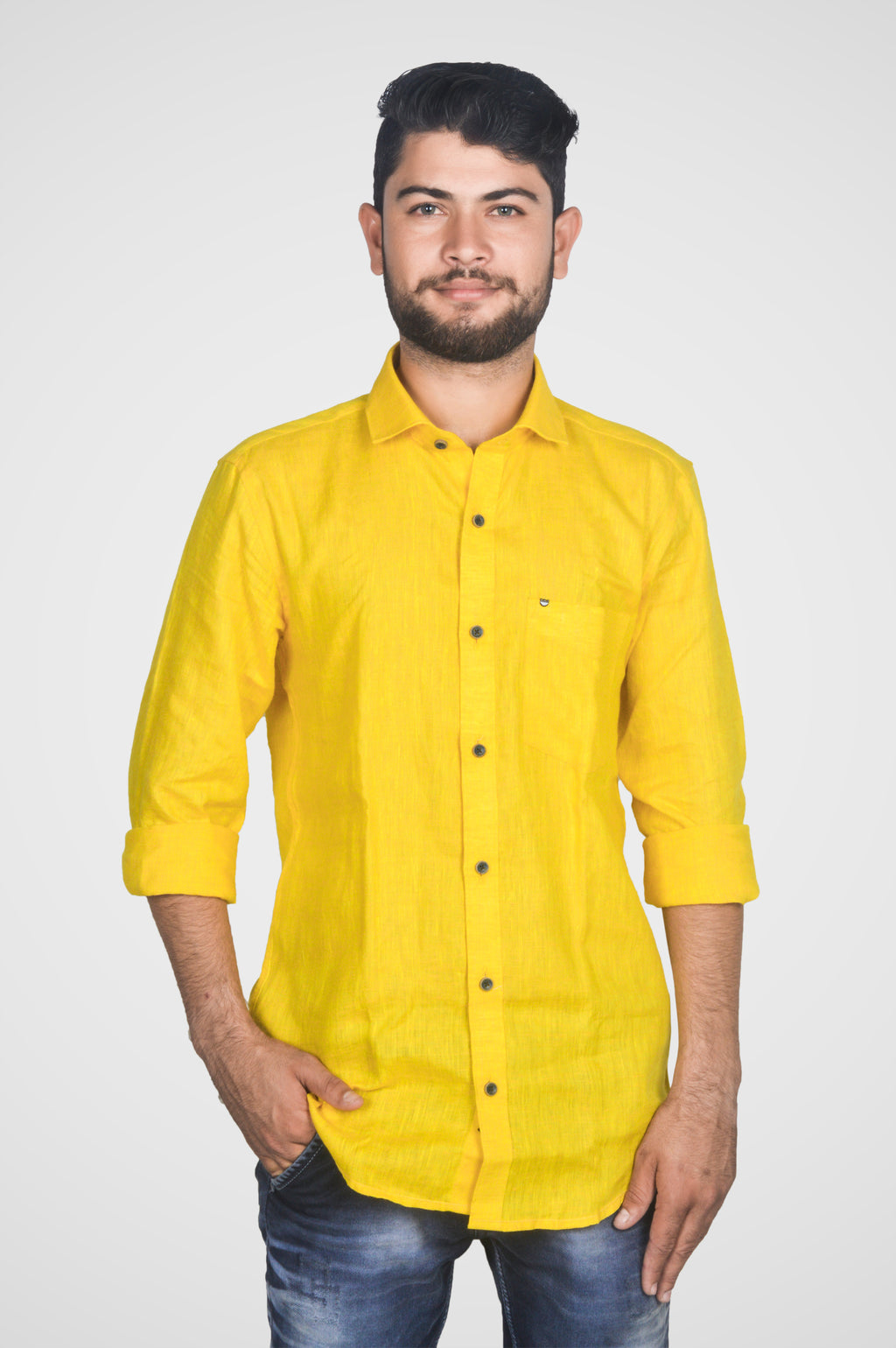 Zerox Men's Plain Pure Linen Full Sleeves Regular Fit Formal Shirt (Yellow) By Indians Boutique