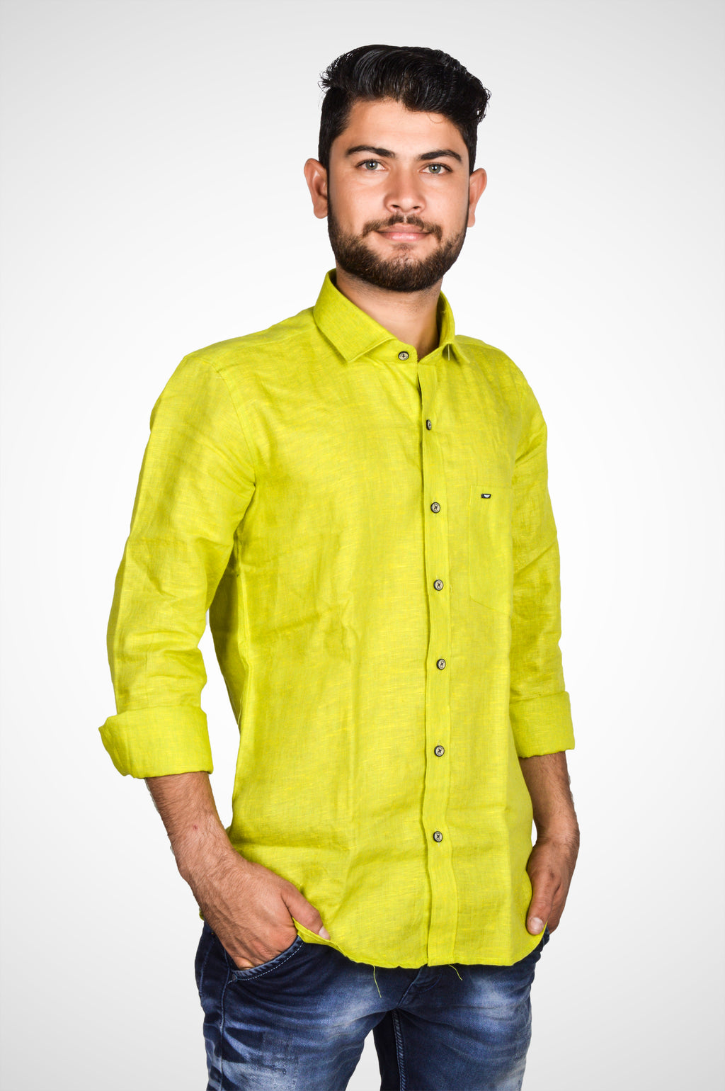 Zerox Men's Plain Pure Linen Full Sleeves Regular Fit Formal Shirt (Parrot Green) By Indians Boutique