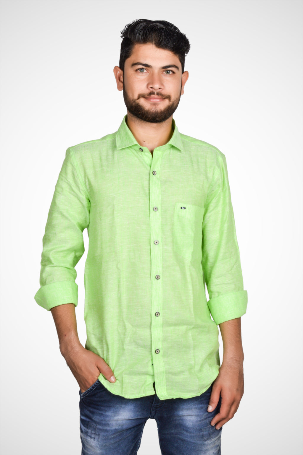 Zerox Men's Plain Pure Linen Full Sleeves Regular Fit Formal Shirt (Green) By Indians Boutique