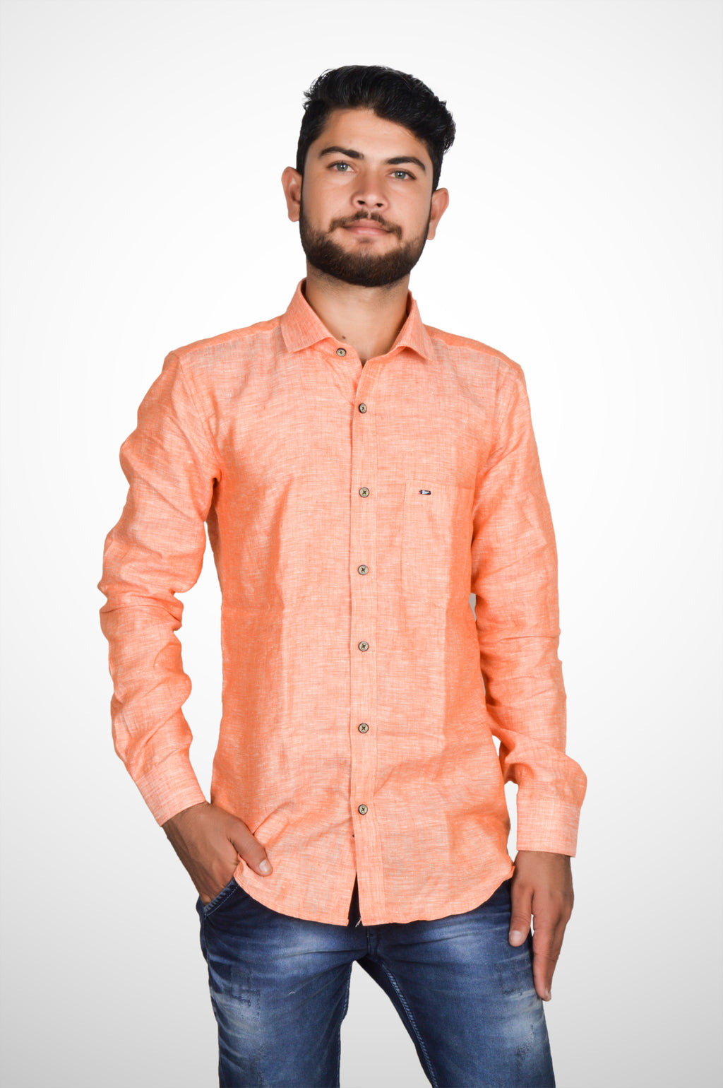 Zerox Men's Plain Pure Linen Full Sleeves Regular Fit Formal Shirt (Peach) By Indians Boutique