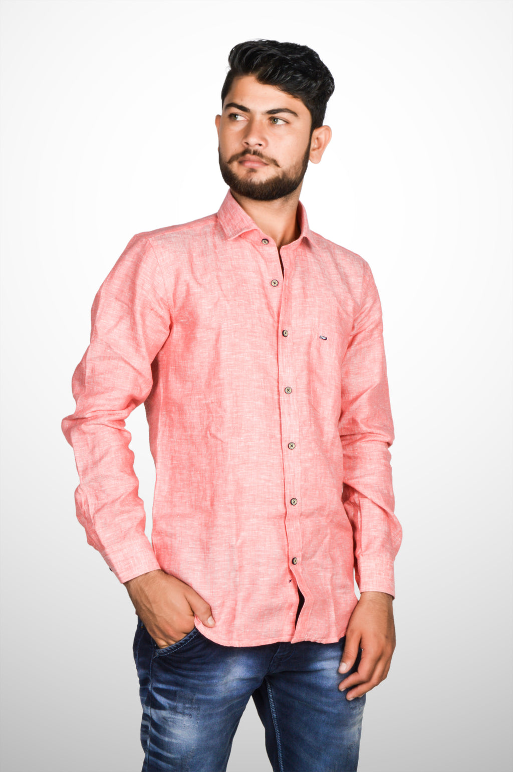Zerox Men's Plain Pure Linen Full Sleeves Regular Fit Formal Shirt (Pink) By Indians Boutique