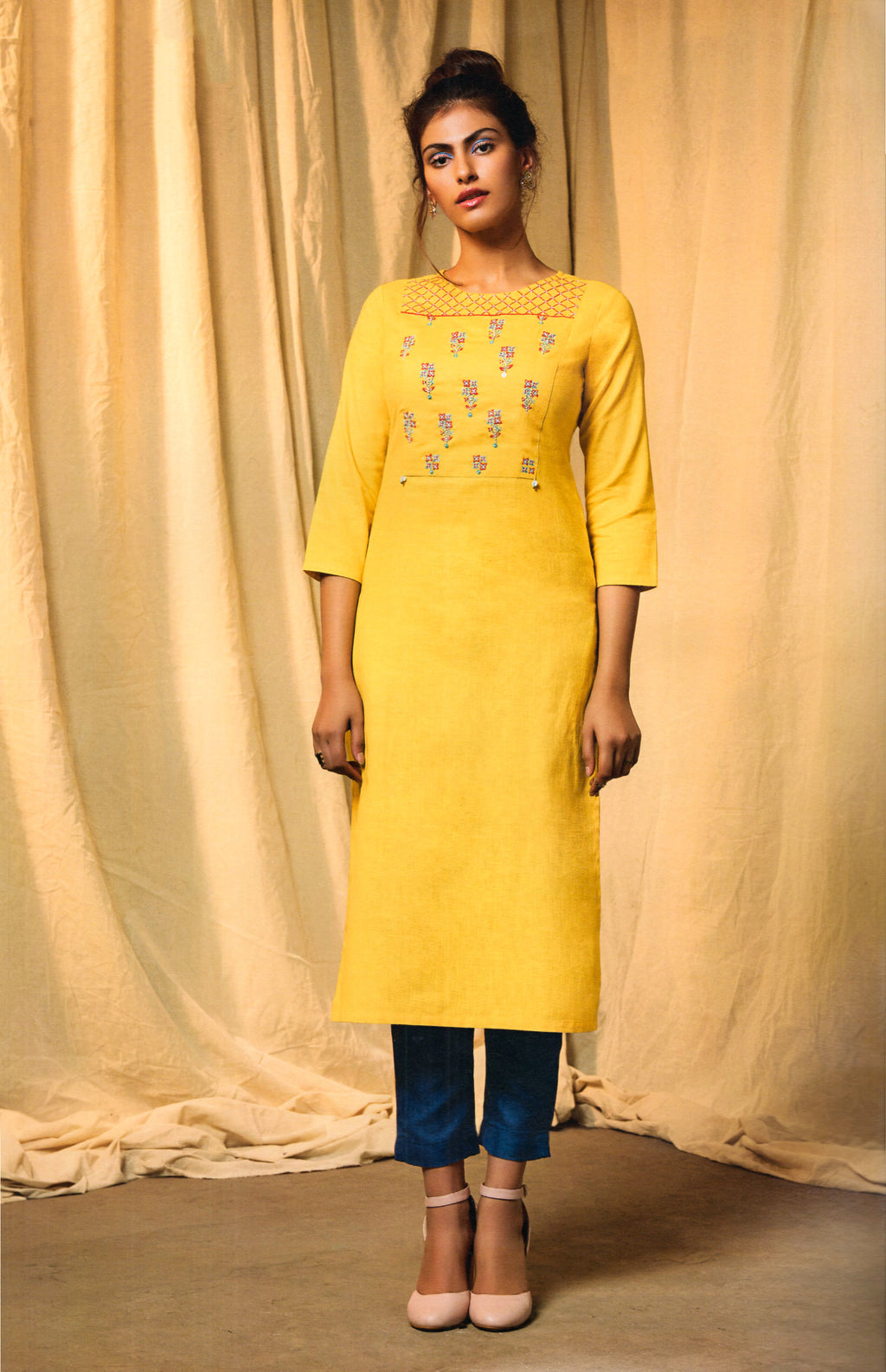 Four_Buttons Colors Cotton Long Kurti (Yellow ) By Indians Boutique