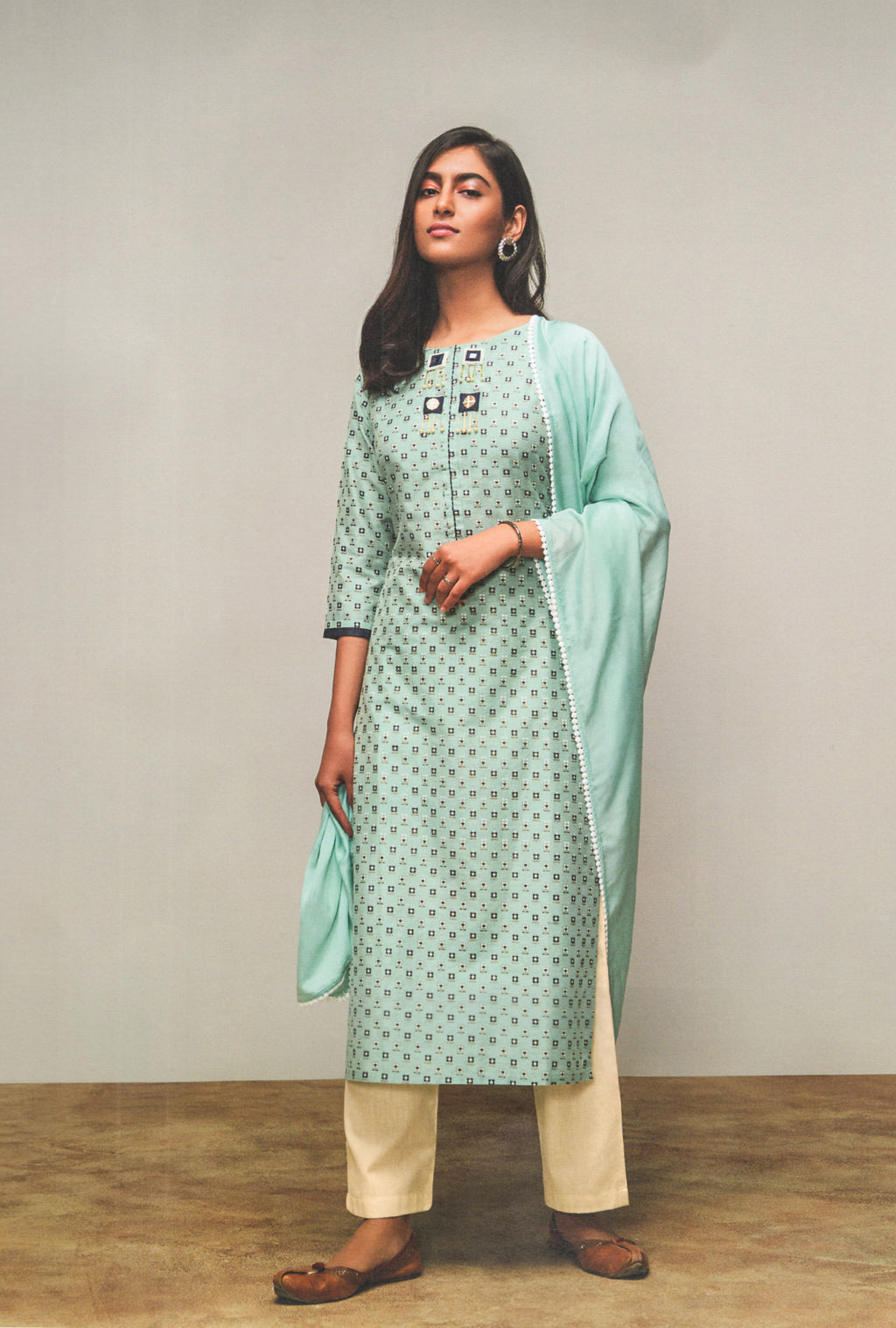 Four Buttons Lemon Cotton Silk Long Kurti (Sky Blue) By Indians Boutique