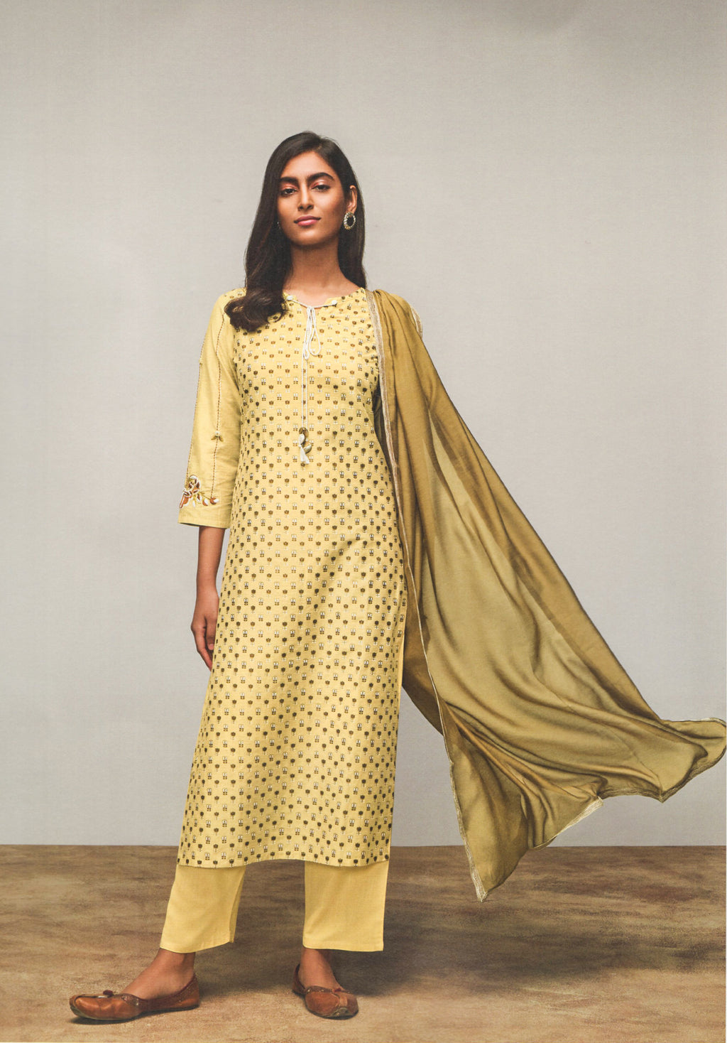 Four Buttons Lemon Cotton Silk Long Kurti (Yellow) By Indians Boutique