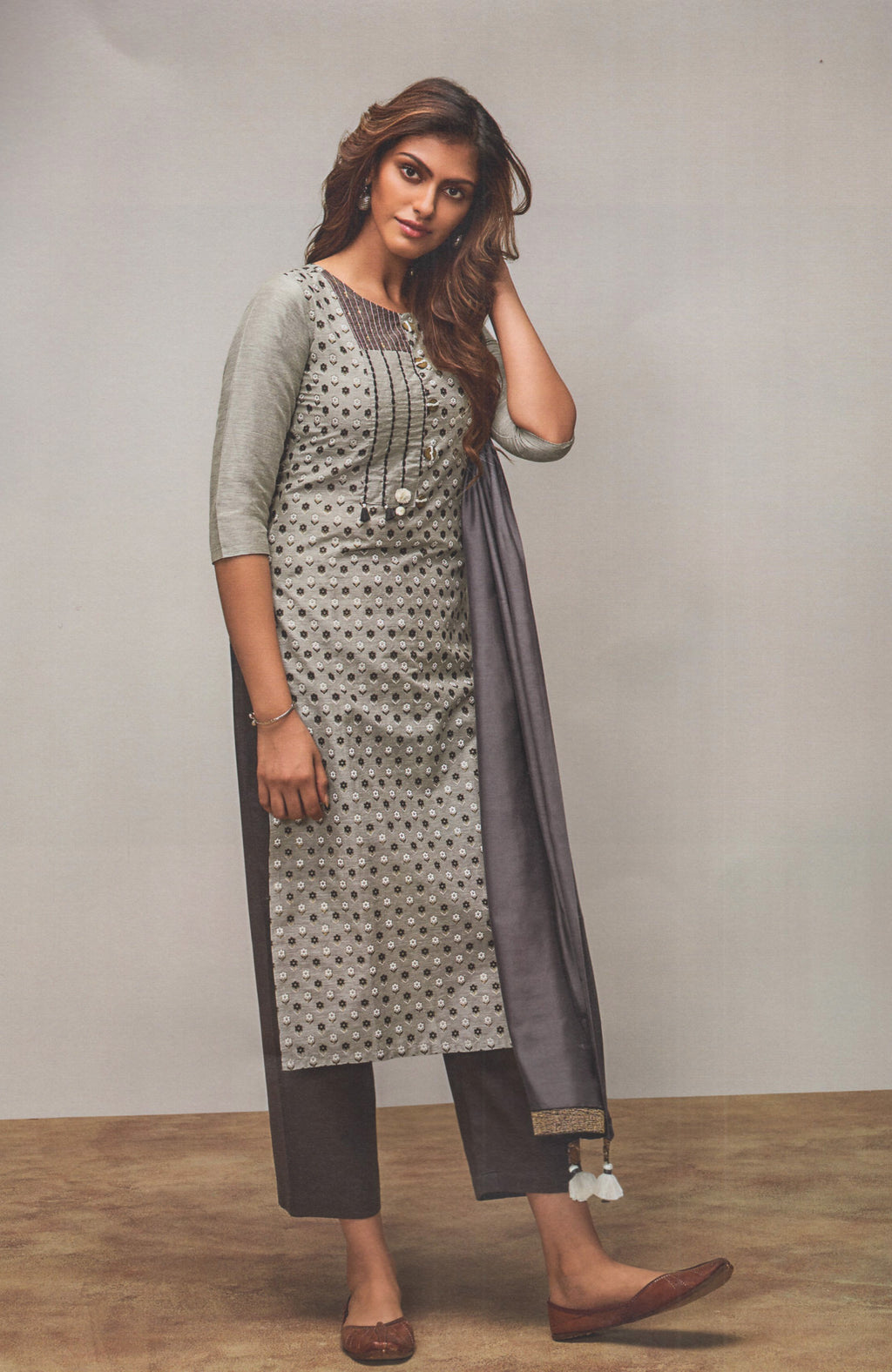 Four Buttons Lemon Cotton Silk Long Kurti (Grey) By Indians Boutique