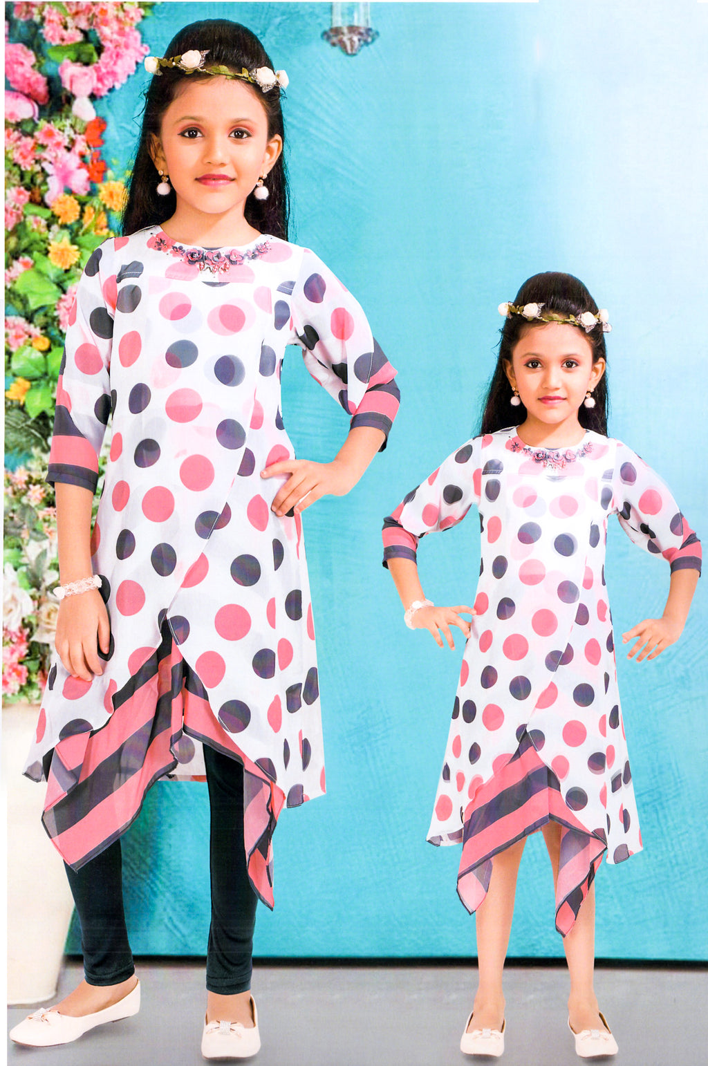 Good Girls Partywear Western Wear (White,Pink) By Indians Boutique