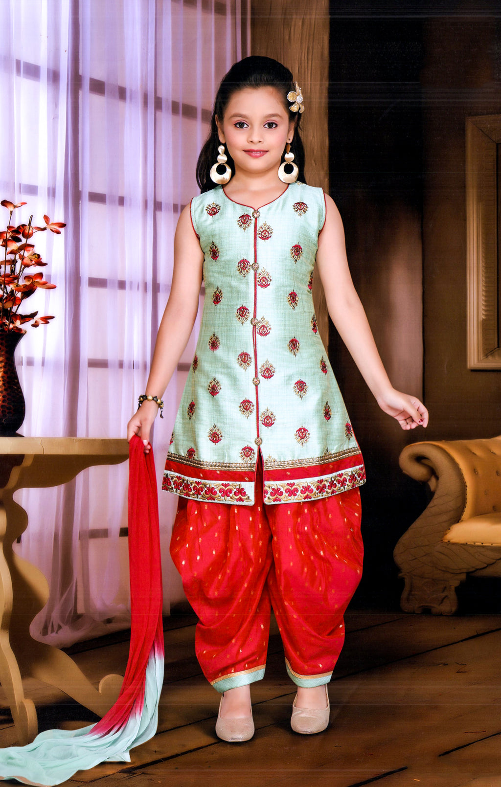 Make-Up Girls Partywear Patiala Suit (Aqua,Red) By Indians Boutique
