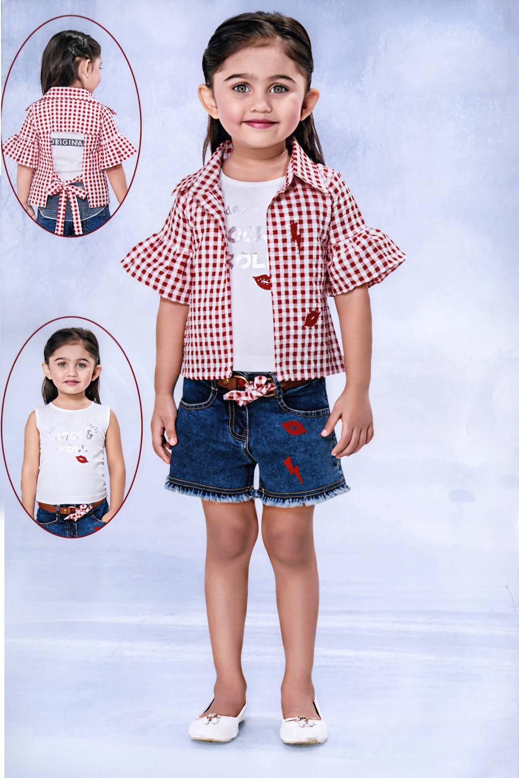 Be Kids Girls Partywear Western Wear (Red) By Indians Boutique